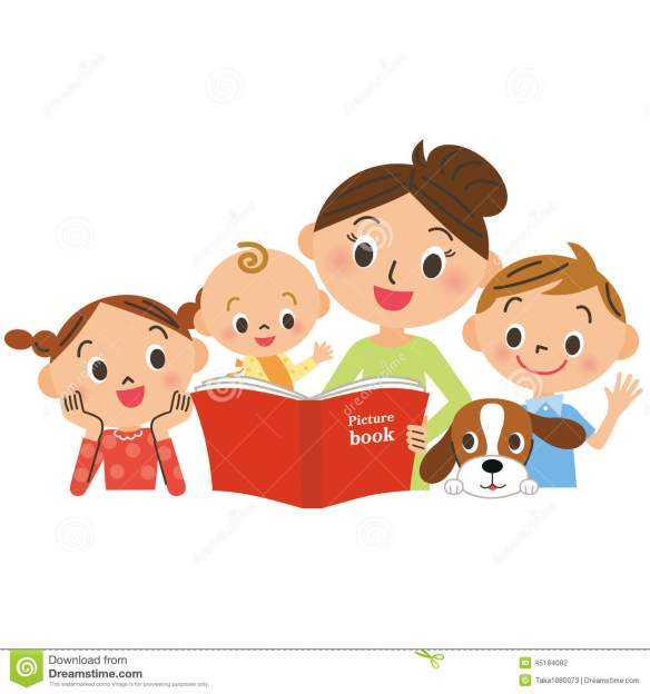 children-gathering-mother-reading-picture-book-woman-diet-to-measure-scale-45184082